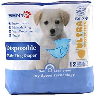 SENYEPETS Disposable Dog Diapers Male Physiological Pants Pet Disposable Wrap 12pcs (S, Male)