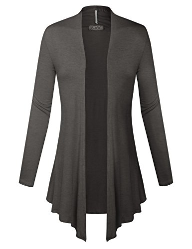 BIADANI Women Open Front Lightweight Cardigan with Side Pockets, XXX-Large,Colpk013_charcoal