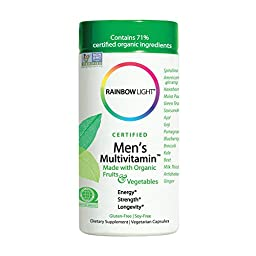 Rainbow Light - Certified Men\'s Multivitamin™ - Provides Antioxidants & Probiotics, Supports Energy, Liver Health, and Digestion in Men - 120 vCaps
