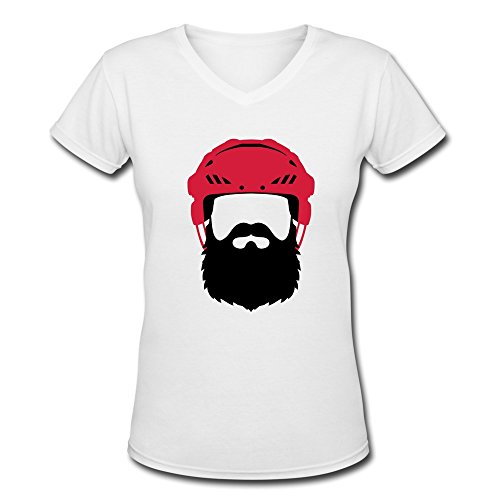 (Women Hockey Helmet With Beard - Playoff Tshirt,White T Shirt By HGiorgis M White)