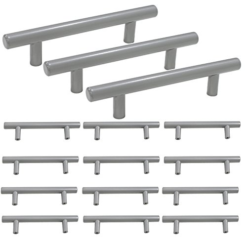 - Probrico Grey Cabinet Handles Solid Stainless Steel Kitchen Drawer Handles Pulls, 3-3/4 Inch Hole to Hole Spacing - 15Pack