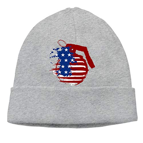 American Flag Grenades Beanie Hat Hipster Toboggan Hat Winter Hats Warm Hat Beanies for Men and Women Gray ()