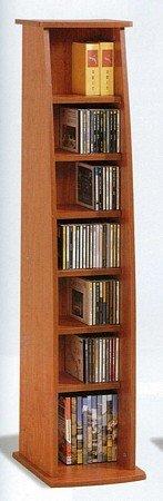 Oak Finish Pillar CD & DVD Rack / Organizer Shelf (Pillar Pottery)