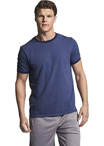 Russell Athletic Men's Essential Cotton Ringer T-Shirt, Vintage Navy, -