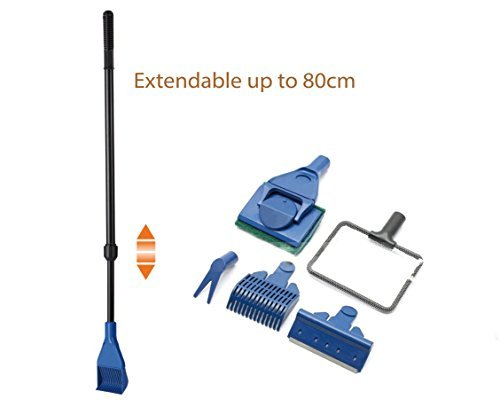 Fish Park Aquarium 5in1 Extendable Cleaning kit Gravel Rake Algae Scraper Flant Fork Sponge