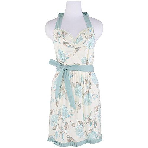 Neoviva Cotton Twill Flirty Garden Apron for Women, Style Laura, Floral Hydrangea Clear Aqua