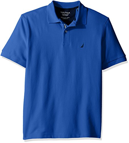 Nautica Men's Classic Short Sleeve Solid Polo Shirt, French Blue, Small