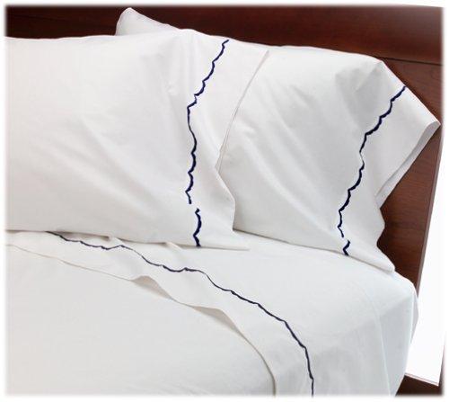 UPC 089769372153, Wamsutta Pure Scallop Full Flat Sheet, White/Sapphire
