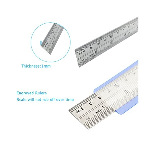Stainless-Steel-Ruler-Teoyall-Metal-Rule-Precision-Rule-Kit-Including-12-Inch-8-Inch-and-6-Inch-Ruler