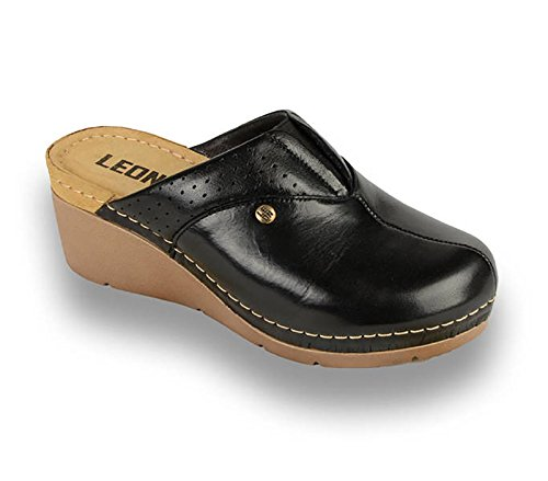 Noir Chaussons Dames Sabots Cuir 1002 Femme LEON en Chaussures Mules WzFpwU74