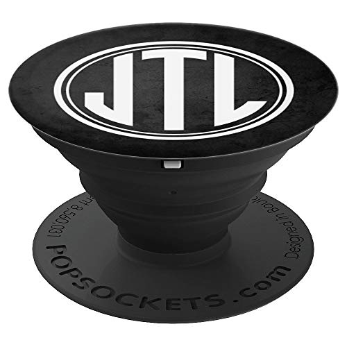 (JTL Monogram Phone Grip Initials JTL or JLT on Black - PopSockets Grip and Stand for Phones and Tablets)