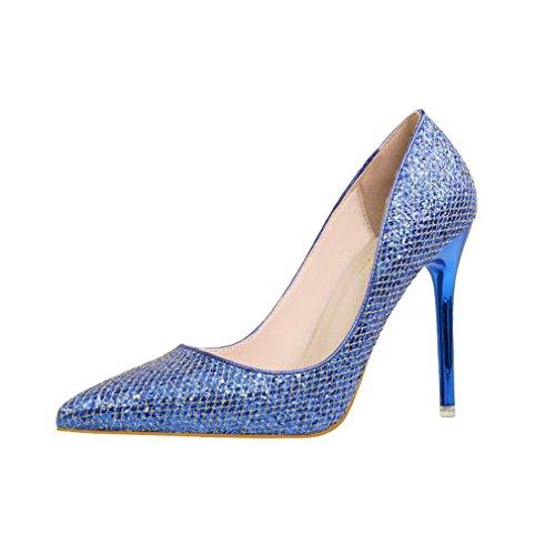 CYBLING Fashion Slip On Glitter Stiletto Heels Dress Pump...