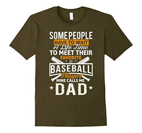 Male Baseball Player (Mens Baseball Dad Shirt My Favorite Baseball Player Calls Me Dad 2XL Olive)