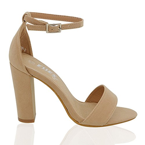 ESSEX GLAM Womens Block Heel Ankle Strap Sandals Ladies Peeptoe Strappy Party Shoes 3-8 Beige Faux Suede eMWEE1K