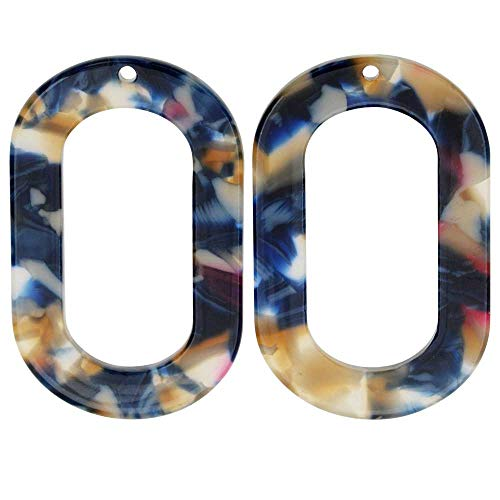 Zola Elements Acetate Pendant, Twilight Oval Donut 27x44mm, 2 Pieces, Blue Multi-Colored ()