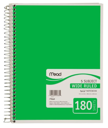 Mead Spiral Notebook, 5 Subject, Wide Ruled, 180 Sheets, Green (72233)