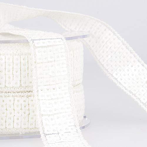 Stephanoise 20mm Sequin Trim White - per 14 metre roll by Stephanoise