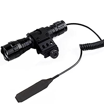 WindFire® Tactical Flashlight Cree Xm-l T6 Led 1000 lm 3.7-18V 1 Mode Light 18650 Battery Tactical Flashlight Torch with Pressure Switch /Tactical Switch and 45°Side Picatinny Mount Rail Offset Ring Side Mount (Battery not included)