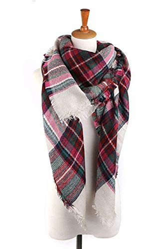 (Yanekop Womens Big Blanket Scarf Soft Warm Tartan Plaid Scarf Shawl Fashion Wrap(Green Pink Mix))