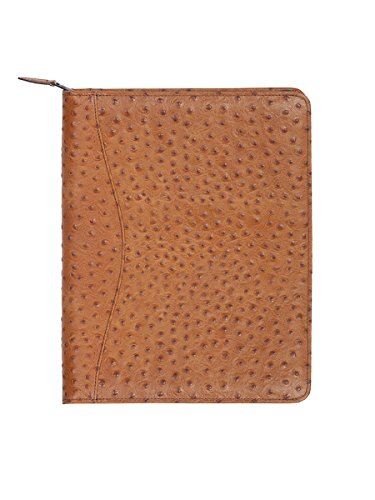 Scully Women's 5014Z Ostrich Leather Planner Padfolio (Ant. Brown) by Scully