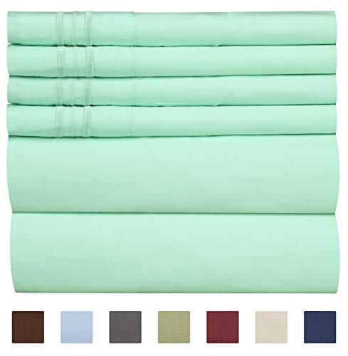- Queen Size Sheet Set - 6 Piece Set - Hotel Luxury Bed Sheets - Extra Soft - Deep Pockets - Easy Fit - Breathable & Cooling Sheets - Wrinkle Free - Comfy - Mint Green Sheets - Queens Sheets - 6 PC