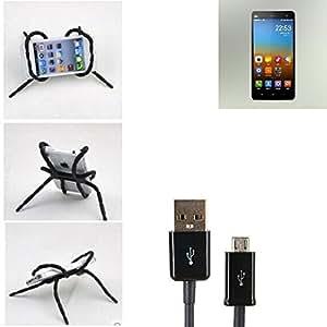 """soporte para coche y para mesa etc. para Xiaomi Mi 4, negro """"araña"""" cable USB. montaje de la salida aire, espejo retrovisor, bicicletas, etc. Trípode - K-S-Trade (TM)"""