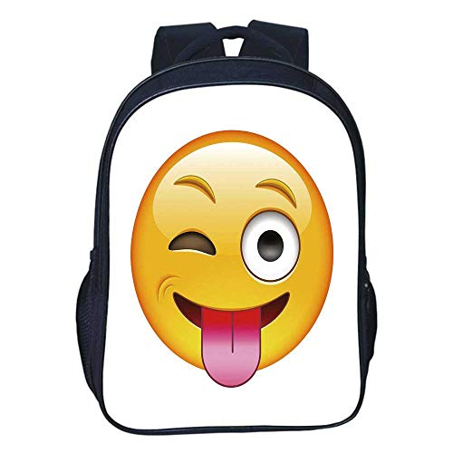 Emoji Durable Double black backpack,Cartoon like Technologic Smiley Flirty Sarcastic Happy Face with Tongue Modern Print For classroom,11.8