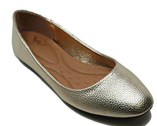 Ballerines Ballerines Walstar Femmes Plates Chaussures À Bout Plat Glissement Sur Shimmer Glitter-or