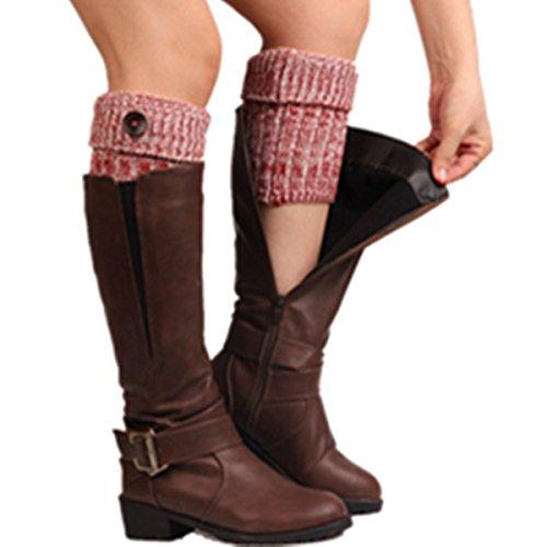 Clearance! E-Papaya 2016 Women's Buttons Leg Warmer Knit Boot Socks Topper Cuff (Red-Mix color) ()
