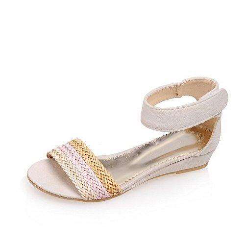 AllhqFashion Mujeres Puntera Abierta Mini Tacón Velcro Dos tonos Sandalia de Cuña Beige