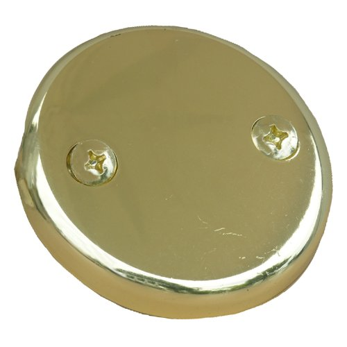 LASCO 03-1431 Two Hole Style Bathtub Waste And Overflow Plate, with Screws, Polished Brass