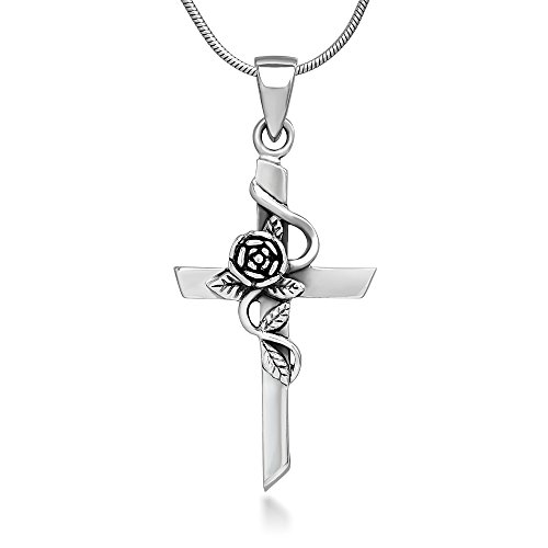 Chuvora 925 Oxidized Sterling Silver Vintage Rose Vine with Leaf Cross Pendant Necklace, 18 inches