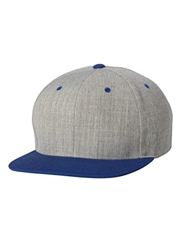 6089M Classic Snapback Pro-Style Wool Cap by Flexfit, Heather/Royal, One Size - Pro Wool Adjustable Cap