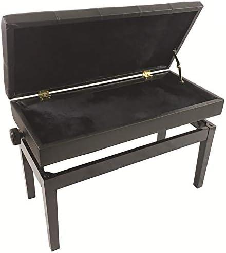 快適なピアノ用スツール 本棚調節可能なPUレザーボタン表面ピアノスツールダブルソリッドウッドストレートレッグピアノスツール 幅広い用途 (色 : Black, Size : 86x39x48cm)