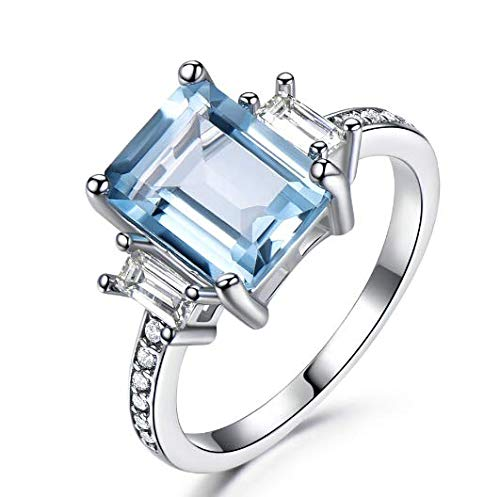 (1PCS 925 Rings For Women Topaz Promise Princess Cut Gemstone Ring)
