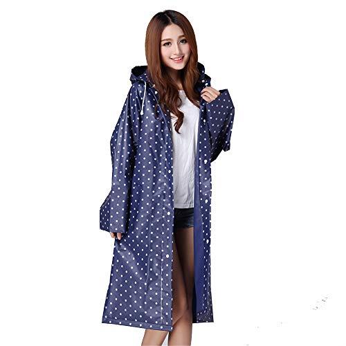 Womens Raincoat Portable Blue Dot De Réutilisable Mode Veste Polka Blue Chengzuoqing Avec Voyage Long Girls Réversible color Pluie d0qtwnxT
