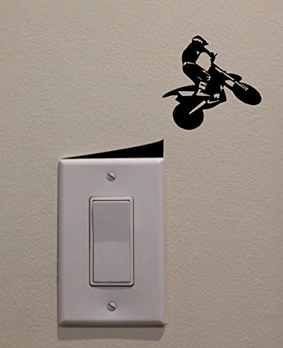 YINGKAI Motocross Racer Jumping Off Ramp on Light Switch Decal Vinyl Wall Decal Sticker Art Living Room Carving Wall Decal Sticker for Kids Room Home Window Decoration