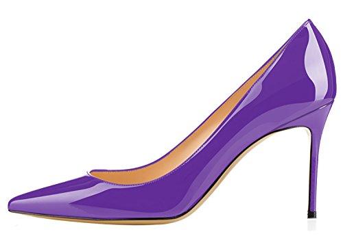 Guoar Womens Sexy Scarpe A Punta Scarpe Basse A Punta Alta 8,5 Cm Viola