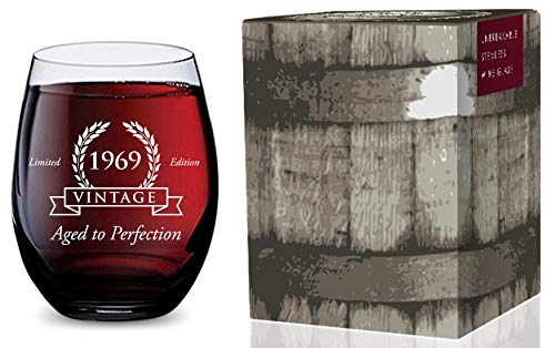 Stemless Wine Glass for 50th Birthday (Vintage 1969) Made of Unbreakable Tritan Plastic and Dishwasher Safe - 16 -