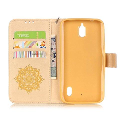 Cierre Telefono Y625 Huawei Dorado Tribu Protector Y625 Retro huawei Para Bookstyle Moda La Movil flip Campánula De Pu Con Caso Leather Folio el Patrón Funda Magnétic Cuero qXgCq