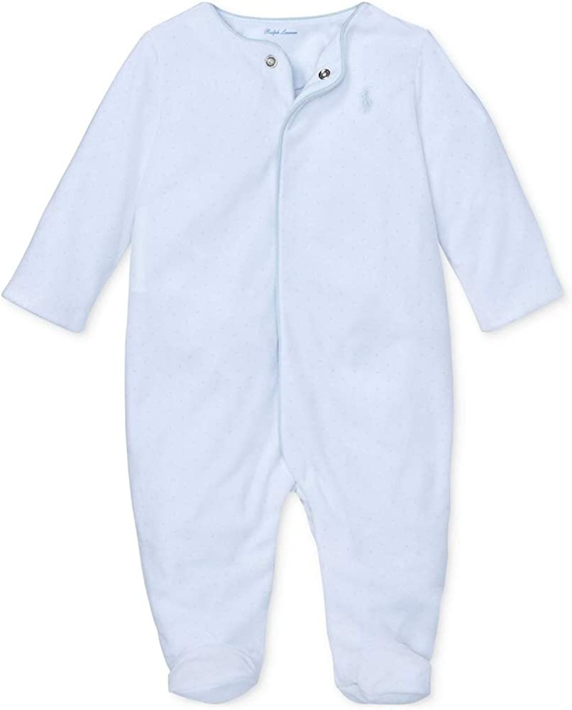 Ralph Lauren Polo Baby Boys Velour Coverall White with Mini Light Blue dots