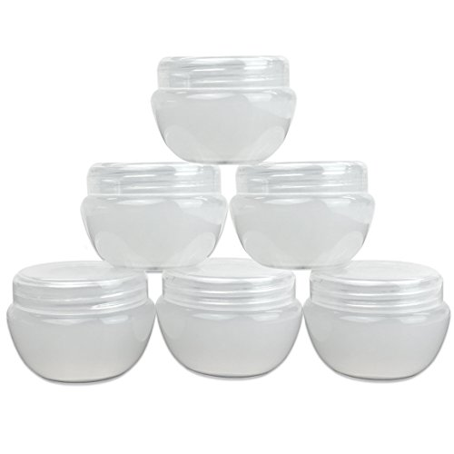 Beauticom (6 Pieces of White Frosted) 10g or 10ml Durable Cosmetic Sample Empty Refillable Container, Plastic Makeup Cosmetic Cream Jar Pot Bottle Container