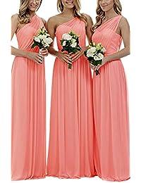 Staypretty Bridesmaid Dresses for Women Long One Shoulder Asymmetric Chiffon Prom Evening Gown