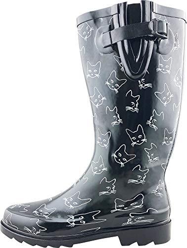 (Cambridge Select Women's Pattern Print Colorful Waterproof Welly Rain Boots,8 M US,Black Cat Print)