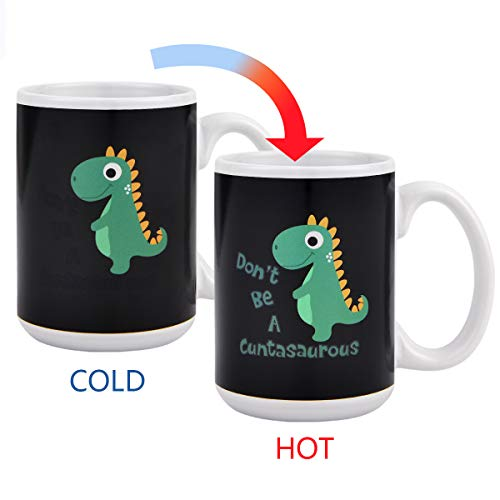 Funny Ceramic Magic Heat Color Changing Art Coffee Tea Mug Cute Dinosaur Thermometer Sensitive Tea Coffee Cup Funny Coffee Mug Cup 100% Ceramic 15 OZ -