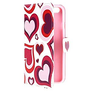 QYF Colorful Heart Design Wallet PU Leather Stand Flip Cover for iPhone 6