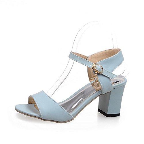 AllhqFashion Mujeres Puntera Abierta Sólido Tacón Grueo Sandalias de vestir con Colgantes Azul