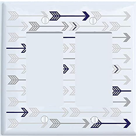 Double Rocker Presto Wall Decals Grey and Navy Arrow Print Light Switch Plate and Outlet Covers//Grey Woodland Nursery Decor for Baby Boys or Girls
