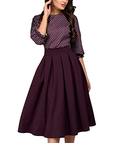 VEZAD Women 3/4 Sleeve Print Dress Ladies Casual Party Dress