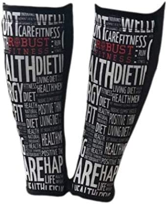 1 Pair ROBUST FITNESS Shin Guards 5mm Neoprene Front Quick to Dry Black//Word Art, Medium Protection /& Compression Breathable Back
